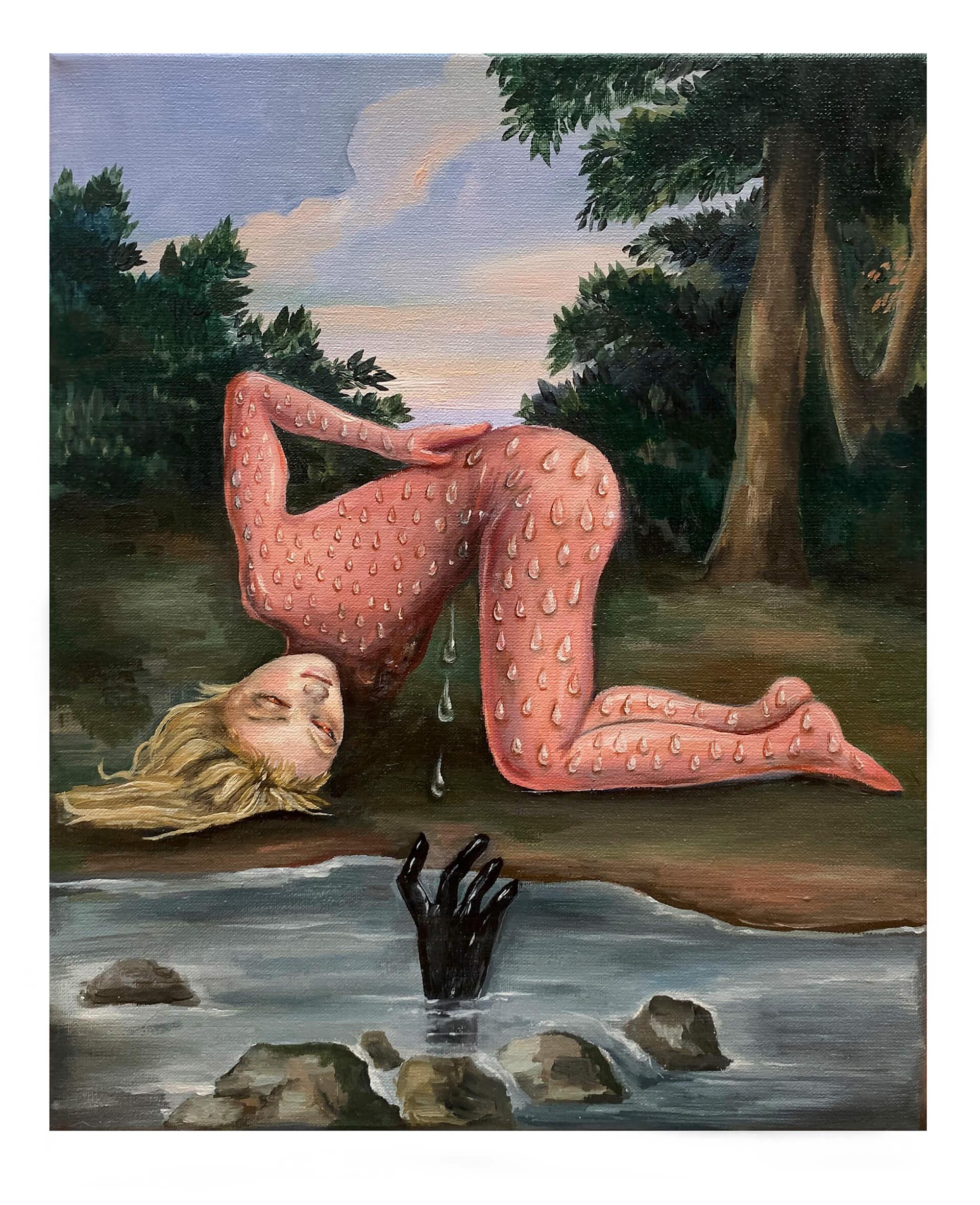 5 El traje rosa,24×30,óleo sobre tela,2020